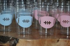or 16 oz. clear party cup WITH LIDS for your party fun. Kids party,gender reveal, football or super bowl. Gender Party, Baby Gender Reveal Party, Gender Reveal Football, Sports Birthday, Dad Birthday, Birthday Quotes, Party Cups, Reveal Parties, Baby Party