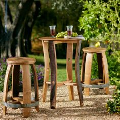 Wine Barrel Stave Cafe Table and Stools Bourbon Barrel, Barrel Bar, Barrel Table, Barrel Rings, Pub Design, Patio Design, Wine Barrel Furniture, Barrel Projects, Bar Table Sets