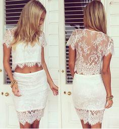 Elegant Lace Skirt Set