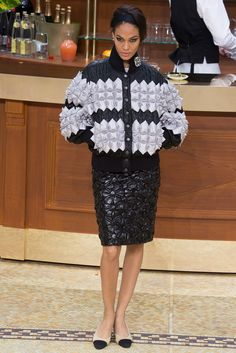 Different padding in a pilot jacket by Chanel Fall 2015 Ready-to-Wear Fashion Show