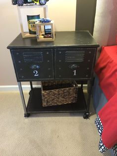 Night stand lockers for the boys room.