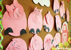 pig cutting and gluing project - circle works - easy and fun for the kids to see the pigs start to form from the pieces