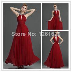 Dark Red Chiffon Halter New long evening Dress  For Women Floor Length 2014 vestido de festa longo $132.00