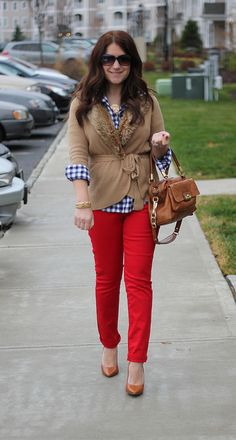 red, gingham, tan via mix & match fashion