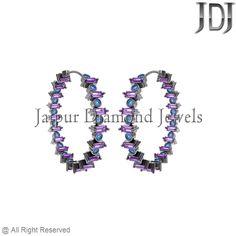 7.2ct Multi Gemstone Baguette Sterling Silver Party Wear Women's Hoop Earrings #Handmade #Hoop