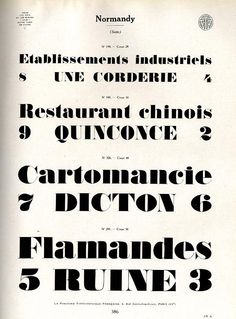 Normandy French type sample. This font is still used these days.