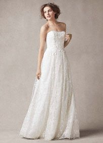 Fall in love all over again with this ultra-feminine and chic wedding dress!  Strapless sort parisian bouquet embroidered tulle sheath gown with sweetheart neckline features delicate floral lace appliques.  No train. Sizes 0-26.  Available in Ivory online and in select stores and by special order.  Fully lined. Center back zip. Imported polyester. Dry clean only.  To preserve your wedding dreams, try our Wedding Gown Preservation Kit.