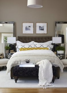 Both the master and guest bedroom are decorated in calming colours. Mirrored…