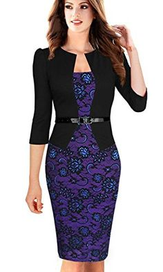JOYEASYBUY Womens Elegant 34 Sleeve Floral Sheath Bodycon Pencil Dress Small *** Check this awesome product by going to the link at the image.