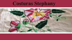 Puntada Fantasia, Punto atras y Rococo en servilleta de Flores Parte#3