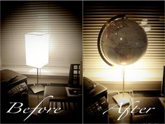 Take a $10 Ikea lamp and a $5 used globe to make a custom globe lamp with the places we have been. DIY