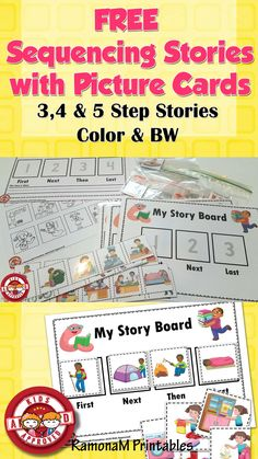 These sequencing boards and story cards are a fun, hands on and engaging way for the young learner to practice their sequencing skills. Included are both colored & black and white versions of 4 and 5 step sequencing boards. As well as 15 stories. Sequencing Cards, Sequencing Activities, Preschool Learning Activities, Speech Therapy Activities, Language Activities, Story Sequencing Worksheets, Comprehension Activities, Speech Therapy Games, Speech Language Therapy
