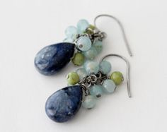 Smooth Dumortierite Drop, Blue Calcite, Green Hemimorphite Cluster, Dangle Earrings, Gemstone, Sterling Silver Earrings. dumortierite is a cleansing stone