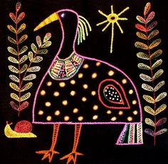 African Folklore Embroidery Kit Standing Bird by TheArtPadStudio, $25.00