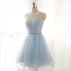 Illusion Ice Blue Homecoming Dress, Sweet Tulle Homecoming
