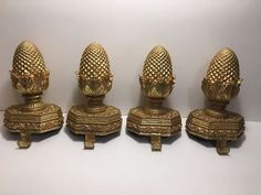 Gold Leafed Decorative Finial Christmas Stocking Holder Mantle Set Of 2