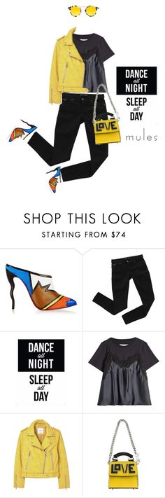 """Black and yellow #587"" by meryflower ❤ liked on Polyvore featuring Christian Louboutin, Bardot, Maison Margiela, MANGO, Les Petits Joueurs, Krewe, mango, christianlouboutin, mules and maisonmargiela"