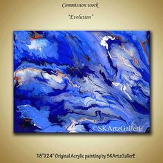 """""""Evolution""""-18×24 inches Acrylic painting on Heavy duty Gallery wrapped Canvas. Blue Acrylic Artwork- Home decor- Interior decoration - Art for Home, office, gift - Blue painting- Marble effect painting- Commission artwork- White blue orange  wall painting - Original Artwork - Wall Canvas art"""