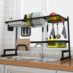 Over The Sink Dish Drying Rack - Finnish sink drying rack - Tiny home drying rack Kitchen Dishes, Kitchen Shelves, Kitchen Storage, Kitchen Decor, Kitchen Drying Rack, Kitchen Racks, Food Storage Boxes, Storage Area, Dish Racks