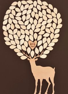 "Custom wedding guest book alternative - 3D Wedding Tree Deer guest book - wood rustic wedding guest book - ""Wedding in the Woods""-105 leaves. LOVE THIS!!!"