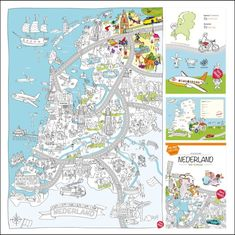 Discover the Netherlands & Amsterdam with the big color- & play city maps. The cheerful illustrations provide hours of fun for children. School Teacher, Primary School, Coloring Pages Winter, Dutch Language, Creative Kids, Painting & Drawing, Cool Pictures, Map, Projects