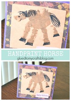 Handprint Horse Keepsake Card Kid Craft is part of Handprint Horse Keepsake Card Kid Craft Glued To My Crafts - For those who absolutely LOVE horses! This Handprint Horse Keepsake Card is super easy to make and drop in the mail today! Horse Crafts Kids, Farm Animal Crafts, Animal Art Projects, Farm Crafts, Animal Crafts For Kids, Vbs Crafts, Daycare Crafts, Camping Crafts, Toddler Crafts