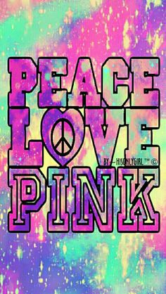 Peace, love, pink galaxy wallpaper I created for the app CocoPPa.