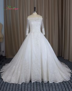 Dream Angel Elegant Long Sleeve A Line Lace Wedding Dresses 2017 Boat Neck Appliques Beaded Full China Robe De Mariee Plus Size #Affiliate