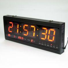 48cm Large Big LED Time Calendar Alarm Digital Desk Wall Clock Modern