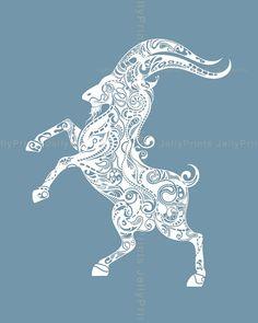 Capricorn Zodiac Sign Art Print 5x7, 8x10,11x14,13x19 Print, please select a size.--- Star 004 on Etsy, $12.00
