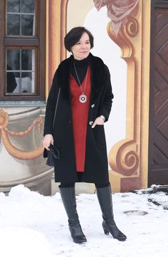 Styling for winter: Red tunic dress, warm leggings and boots #ladyofstyle #maturestyle #50plusblogger