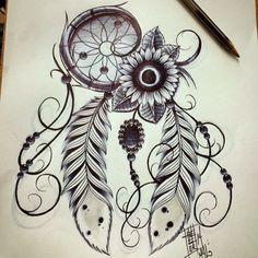 Tatto desgin #sunflower #dreamcatcher all done with pen