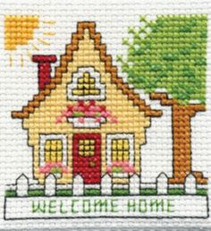 Cross Stitch Kits Bucilla ® Counted Cross Stitch - Beginner Stitchery - Mini - Home Size: x - Cross Stitch House, Small Cross Stitch, Cross Stitch Kits, Cross Stitch Designs, Cross Stitch Patterns, Cross Stitching, Cross Stitch Embroidery, Embroidery Patterns, Embroidery For Beginners
