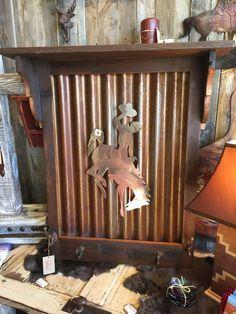 Handcrafted Barn Wood Wall Decor w/Plasma Cut Metal Steamboat, Shelf and Cast Iron Hooks