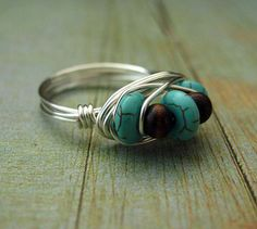 Wire Wrapped Ring Brown Turquoise Ring Custom Ring Beaded Urban Semi Precious Wirework