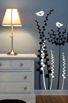 Floral Wall decal with Dandelion and love birds by HouseHoldWords, $49.00