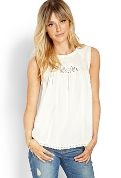 Embroidered Sleeveless Top from FOREVER 21 on shop.CatalogSpree.com, your personal digital mall.