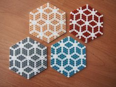 Classy handmade coaster set hama beads by TheRetroMarket