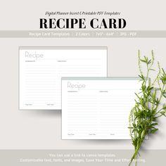 Editable Minimalist Recipe Card, Digital Planner Insert, Printable Recipe Card, Goodnotes Planner Insert, Recipe Templates Printable Recipe Cards, Online Print Shop, Planner Inserts, Card Templates, Etsy Handmade, Gifts For Kids, Clip Art, Printables, Cooking Cream