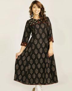 Fabindia.com | Cotton Printed Sindhi Embroidery Long Kurta