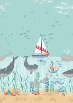 Our mermaids are having a 'whale' of a time under the sea with their friends!  Inspired by our fondness for the Narwhal and a happy afternoon sat at the wild Cape of Cornwall looking out to sea … 'Tales of the Sea'