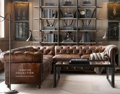 RH's Preconfigured Petite Kensington Leather Corner Sectional:A masterful reproduction by Timothy Oulton of the classic Chesterfield style, our sofa evokes the grand gentlemen Industrial House, Industrial Interiors, Vintage Industrial, Industrial Furniture, Industrial Style, Industrial Bookshelf, Repurposed Furniture, Rustic Furniture, Vintage Furniture