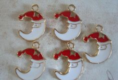 5 Santa Clause  Charms Moon Christmas Jewelry by FlauntingCharms