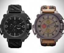 Limited Edition Batman and Bane Watches by Diesel. Very clever design allows for two distinctly different watches that share probably 90% or more of the same components and tools.