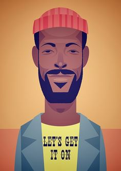 Marvin Gaye. Graphic poster for wall interest n good memories, good songs stuck in your mind to give you cheer & energy.