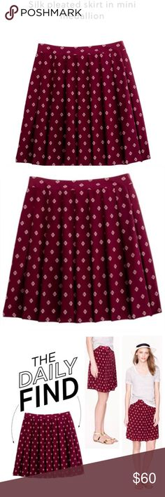 J. Crew silk pleated skirt Super cute J.Crew silk pleated skirt in a cranberry color with clover medallion graphic. Brand new w/ tags. Sold out online! Original price $148. J. Crew Skirts
