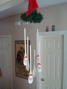crafts Wooden Spoon Santa Mobile