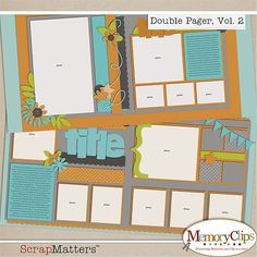 Double Page scrapbook layout, Vol 2 by Memory Clips..   cricut