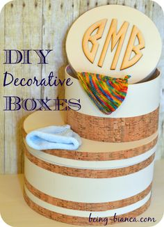 DIY Decorative Boxes Recycled Using Old Boxes | Being-Bianca.com | #inexpensive #diy #craft #storage #solutions #easy #monogram #cork #box #onhand #make