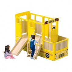 Kids indoor playground equipment-Vehicle Loft System-School Bus PlayTime Loft guidecraft-discontinued This Vehicle Loft System-School Bus PlayTime Loft by GuideCraft promote children imaginative play and is loaded with personality and features to Kids Indoor Playhouse, Build A Playhouse, Indoor Playground, Inside Playground, Toddler Playground, Outdoor Playhouses, Playground Ideas, Play Houses, Kids Furniture